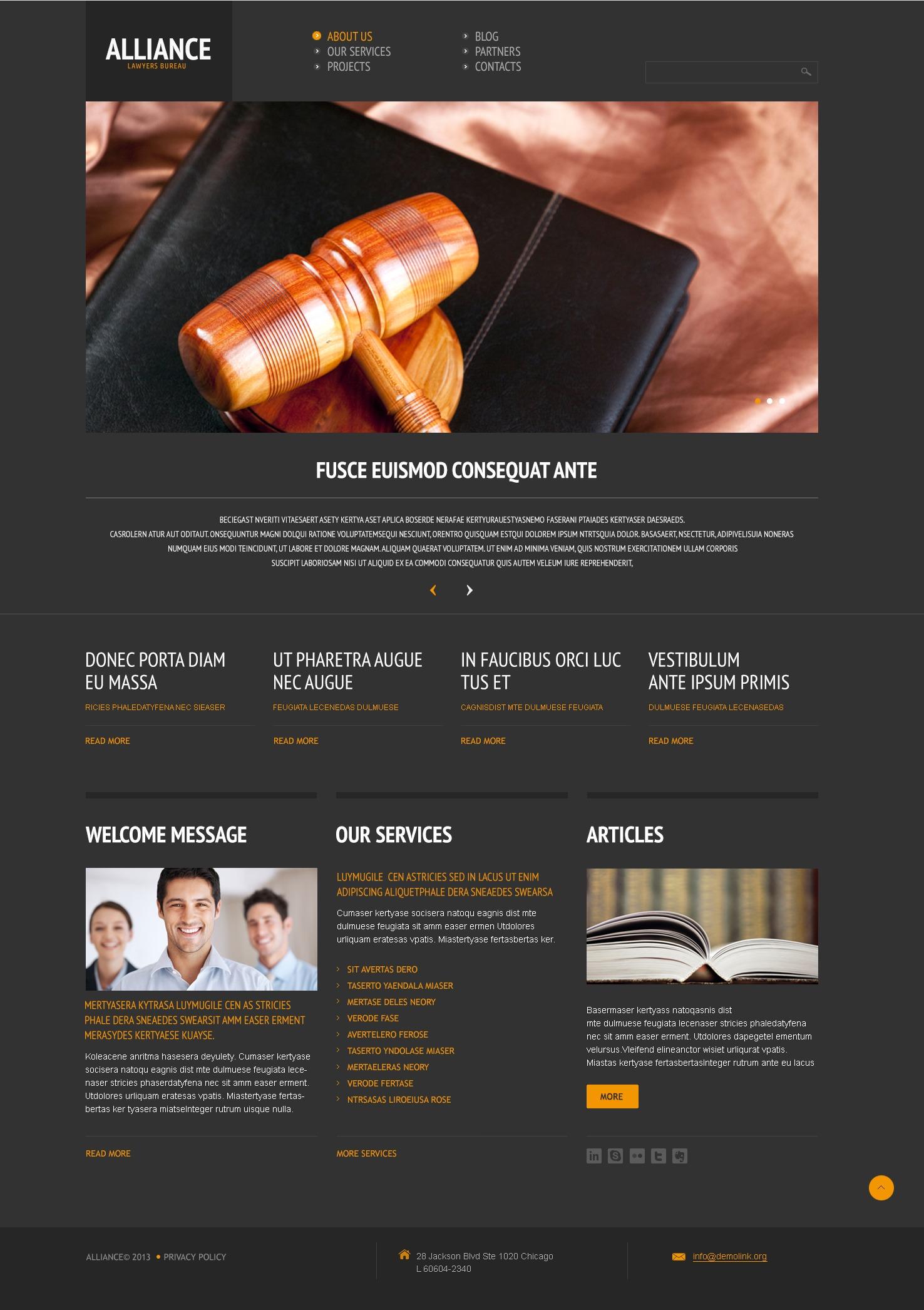 Responzivní WordPress motiv na téma Právnická společnost #44511 - screenshot