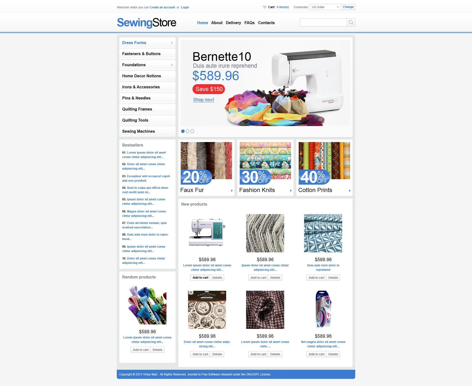 Sewing Store Template VirtueMart №44587