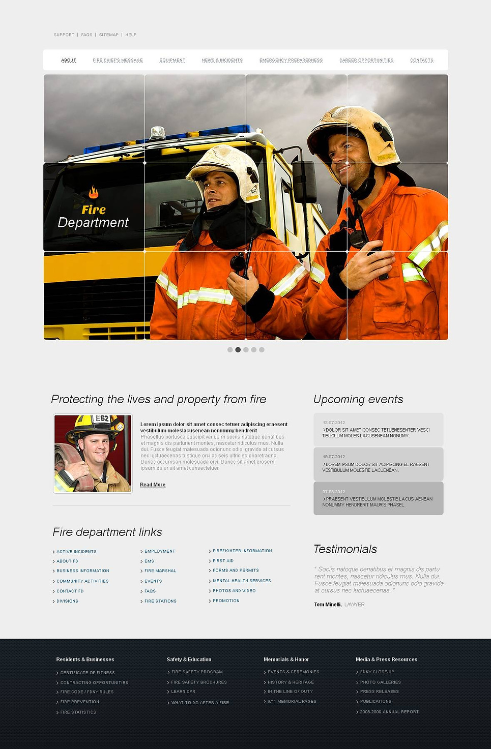 Fire Department Website Template with a Checked Image Slider - image