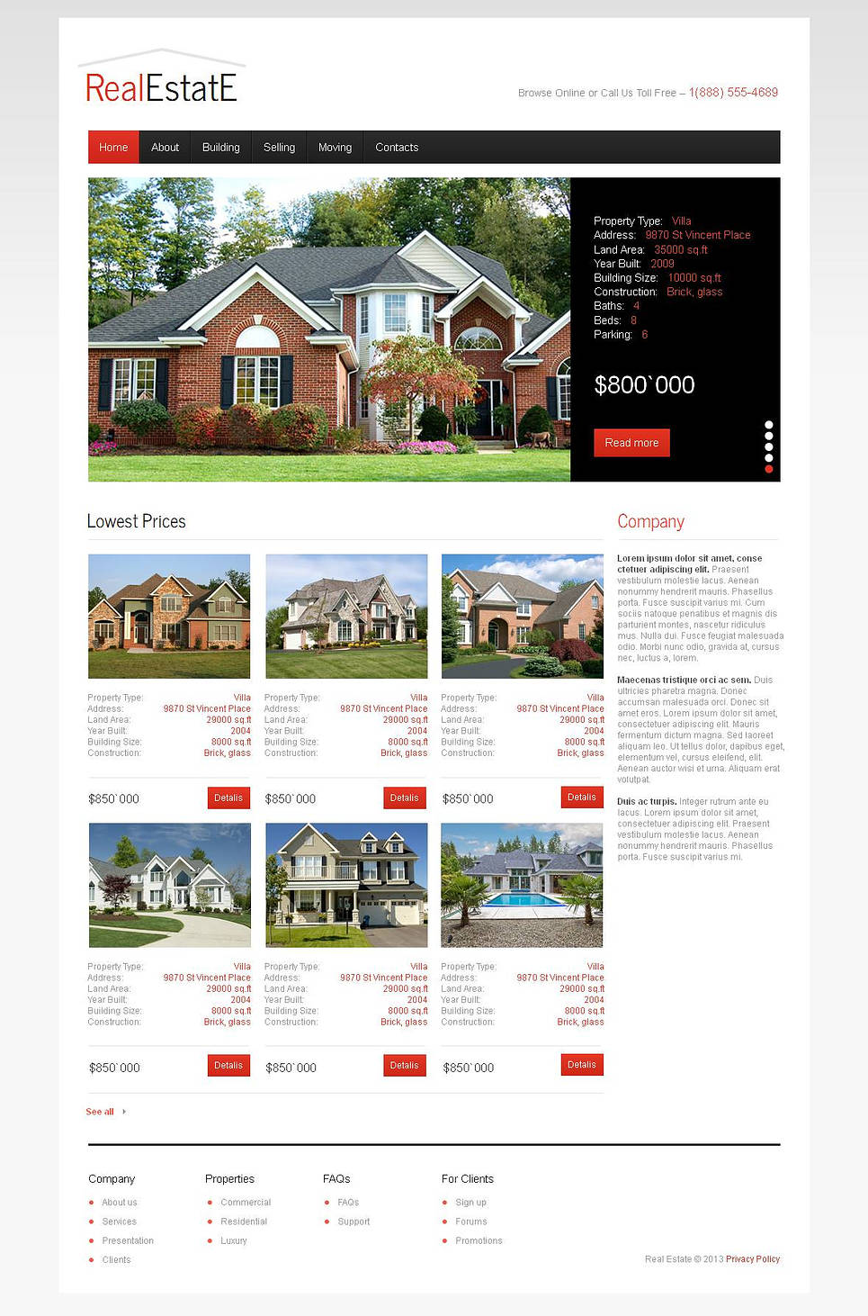 White Real Estate Template with Black Menu Bar - image