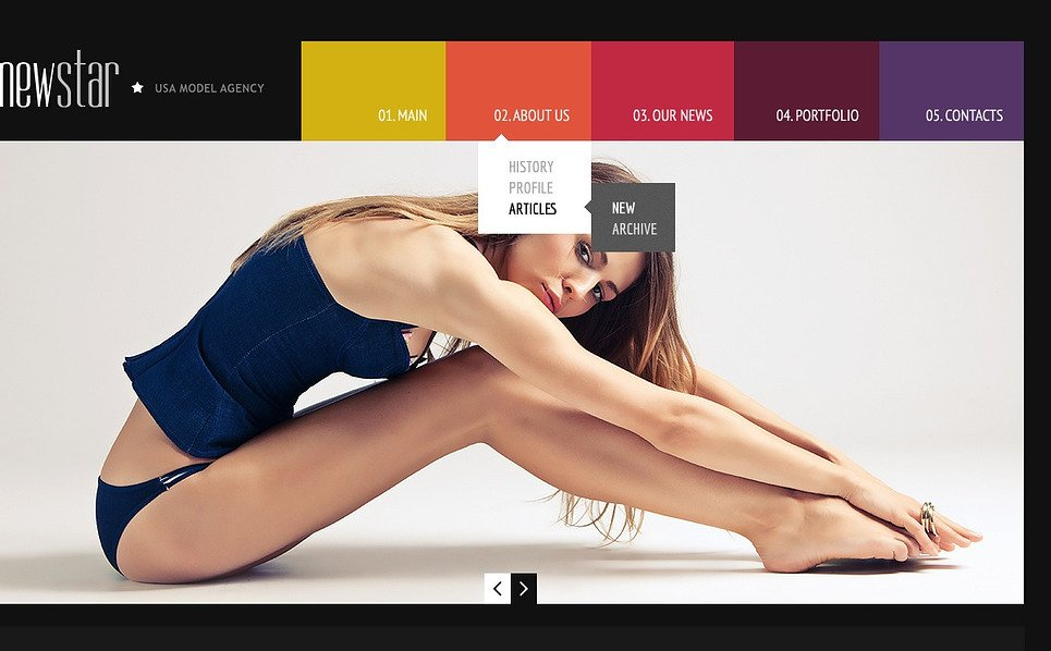 Адаптивний Шаблон сайту на тему модельне агентство New Screenshots BIG