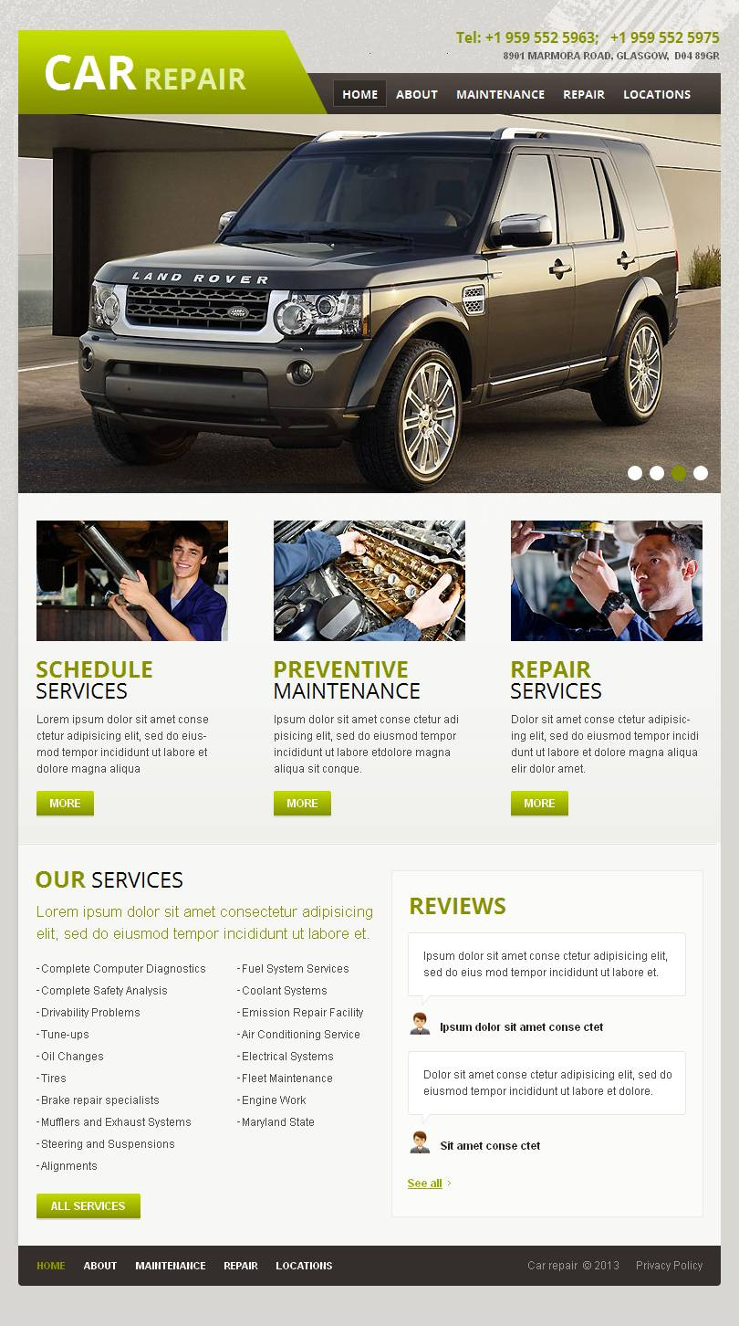 Car repair facebook html cms template