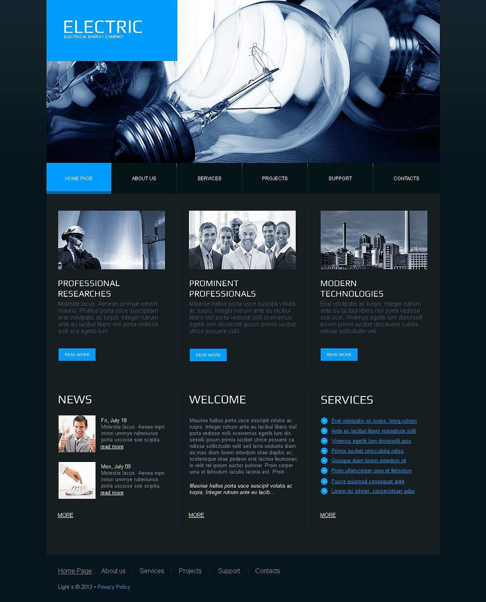 Lighting & Electricity Moto CMS HTML Template New Screenshots BIG
