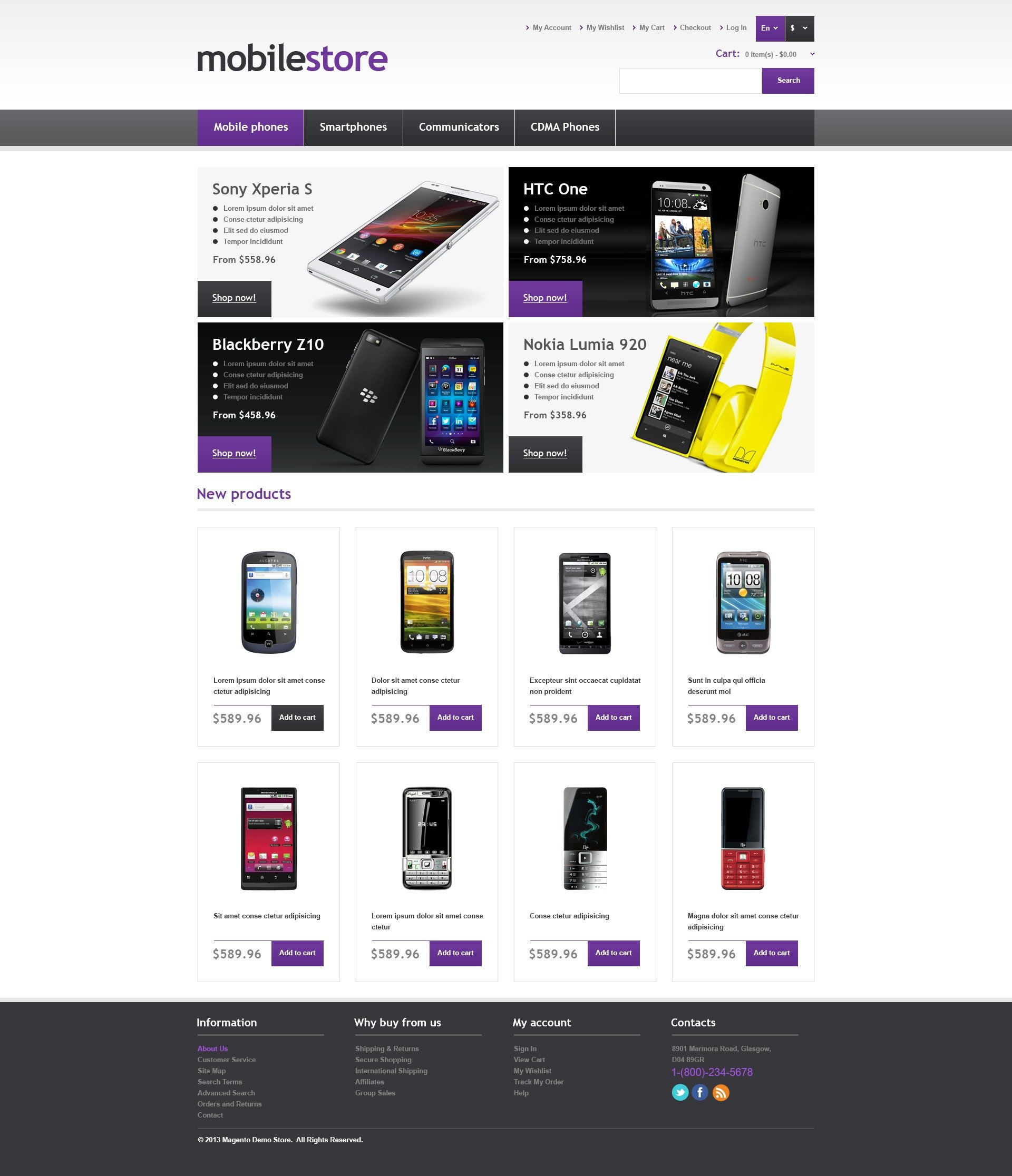 Responsive Mobile Store Magento Theme - Responsive shopping cart template