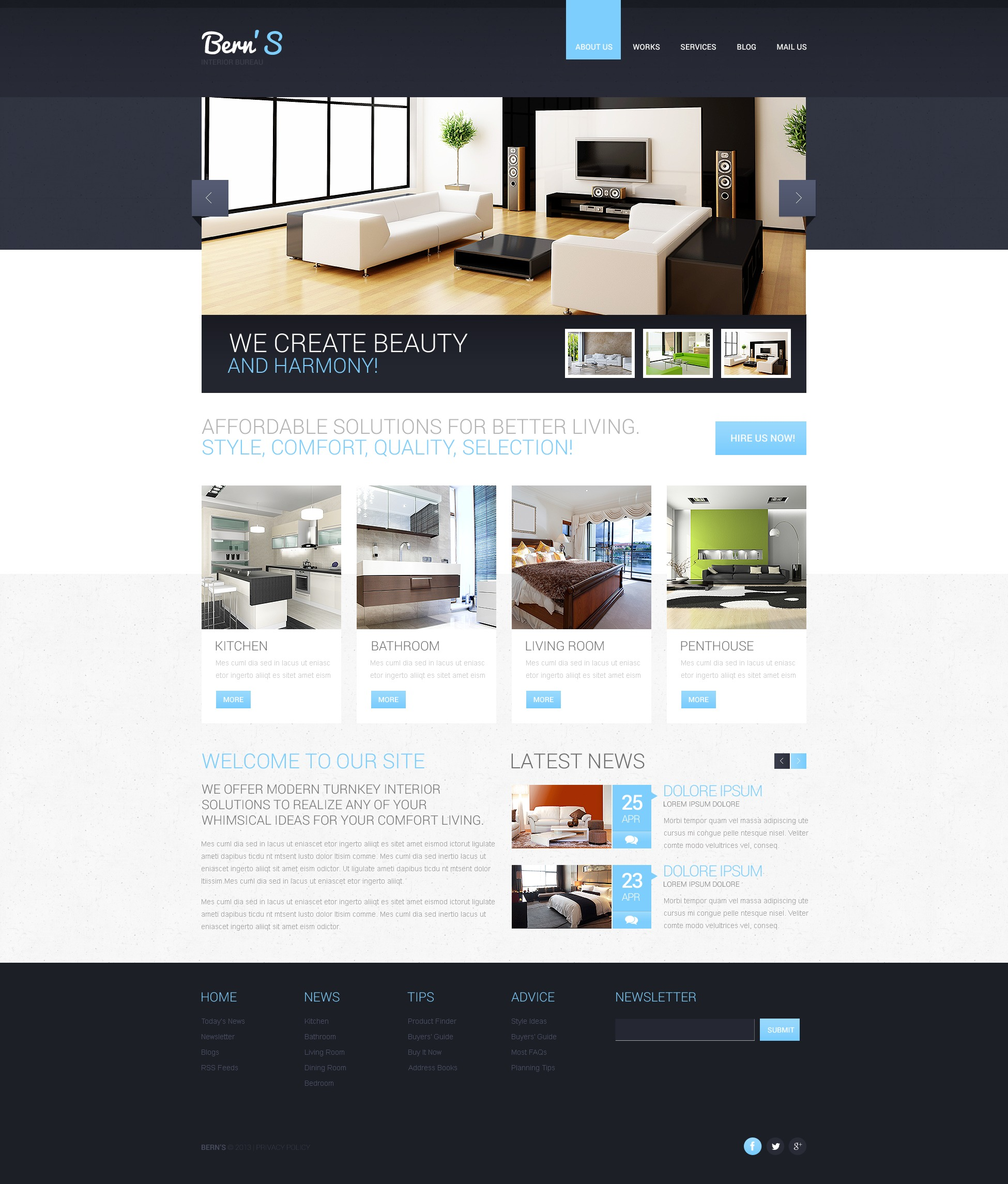 Responsive Website template over Interieur-design №44659