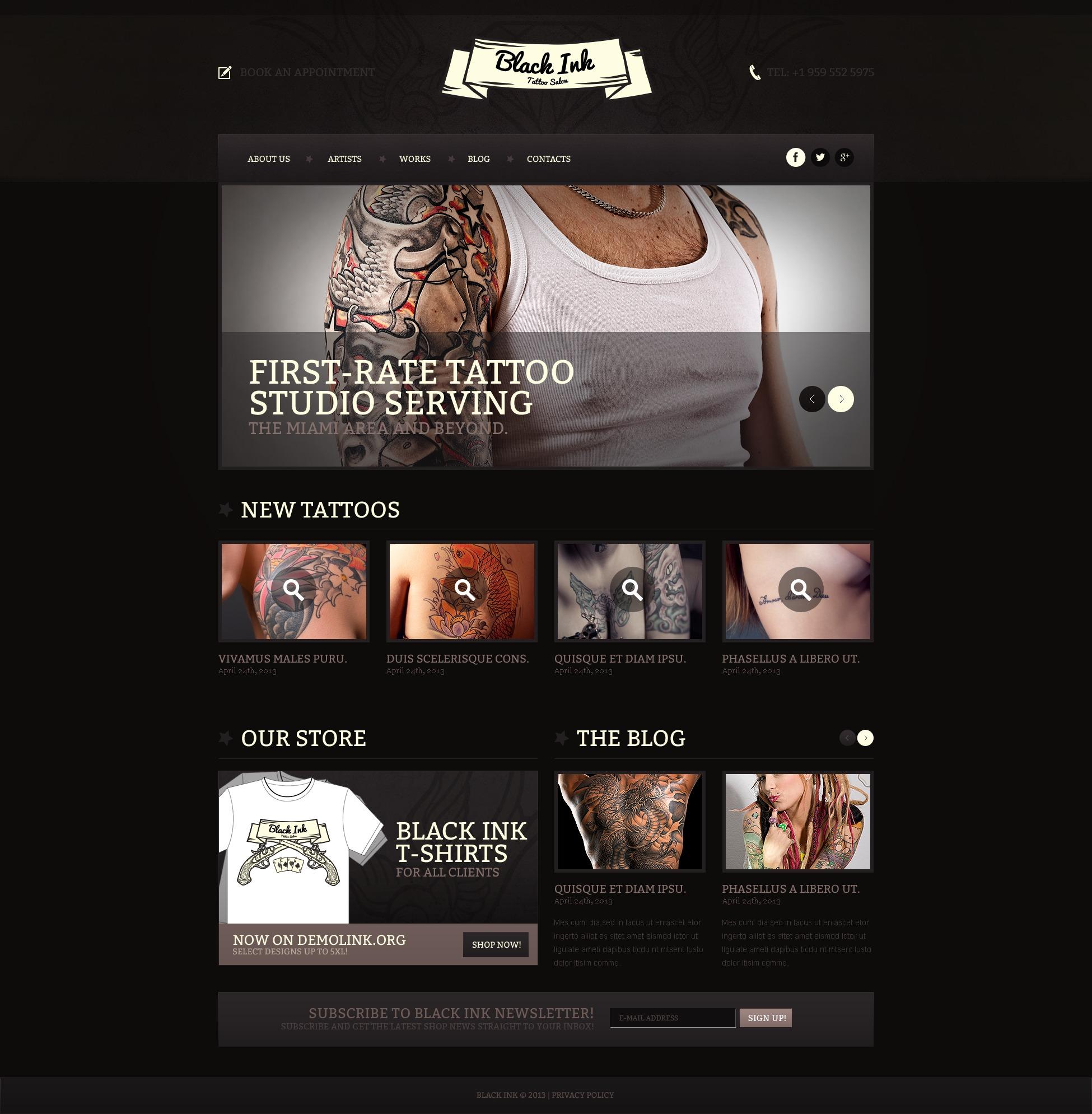 Website Vorlage #44664 für Tattoo Salon