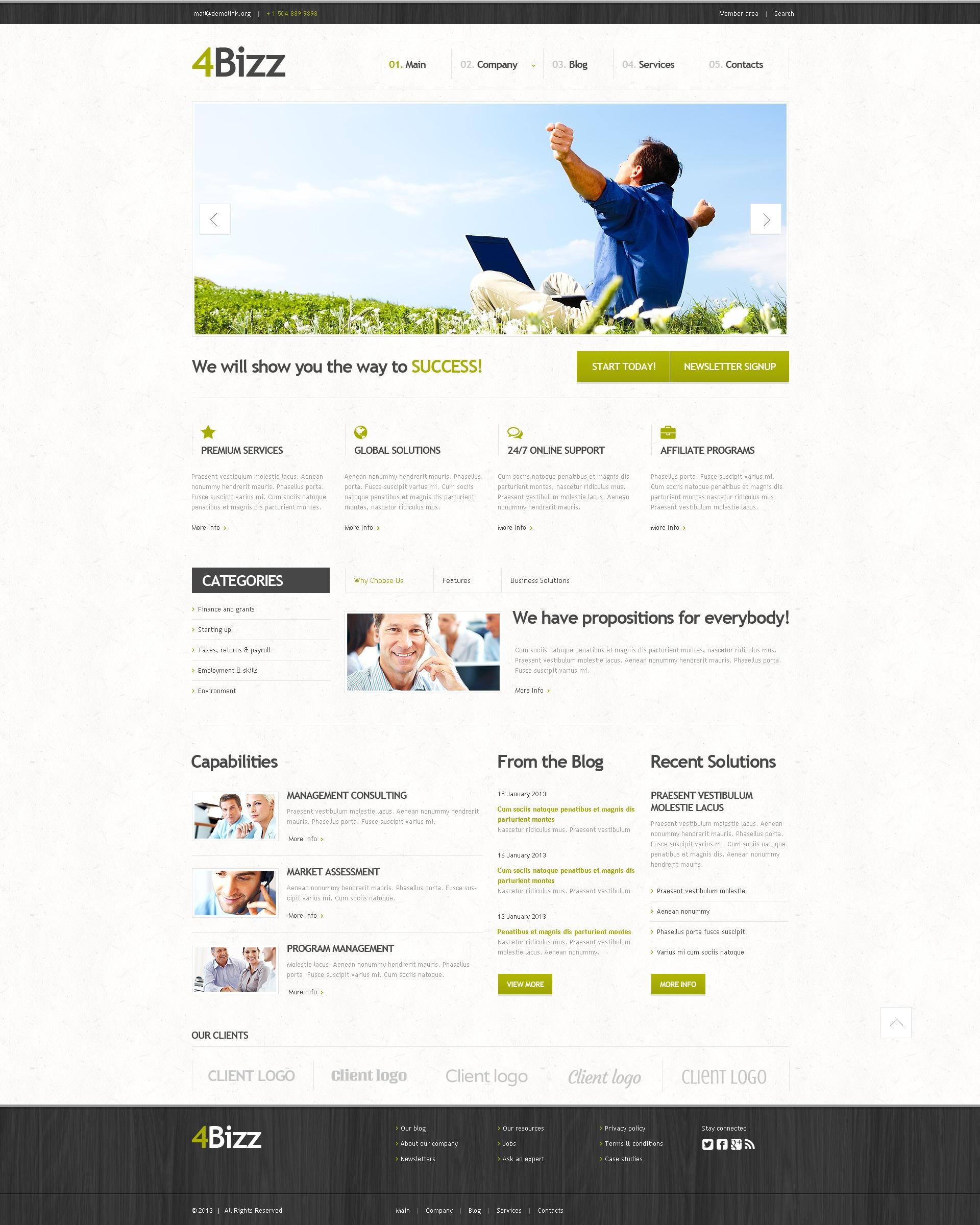Reszponzív White Space Marketing Agency WordPress sablon 44669 - képernyőkép