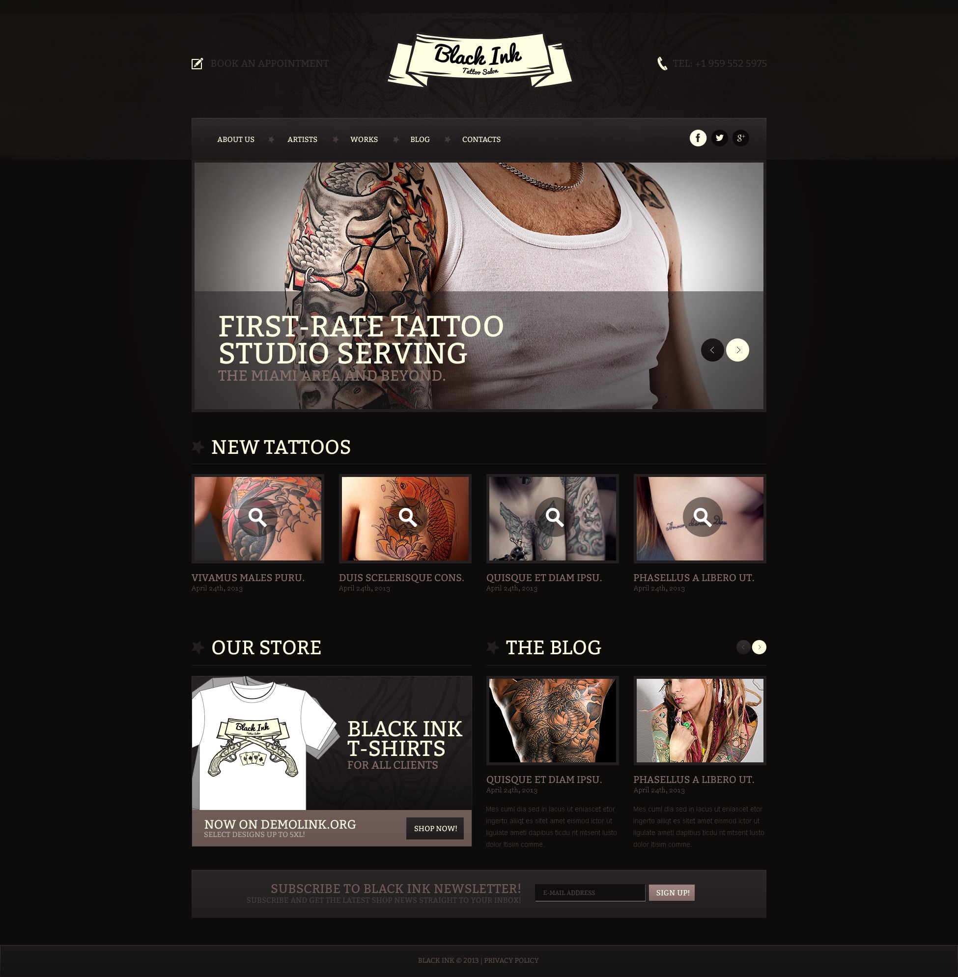 tattoo salon responsive website template 44664. Black Bedroom Furniture Sets. Home Design Ideas