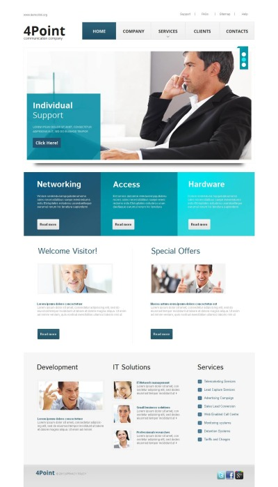 Template Moto CMS HTML №44610 para Sites de Empresas de Call Center