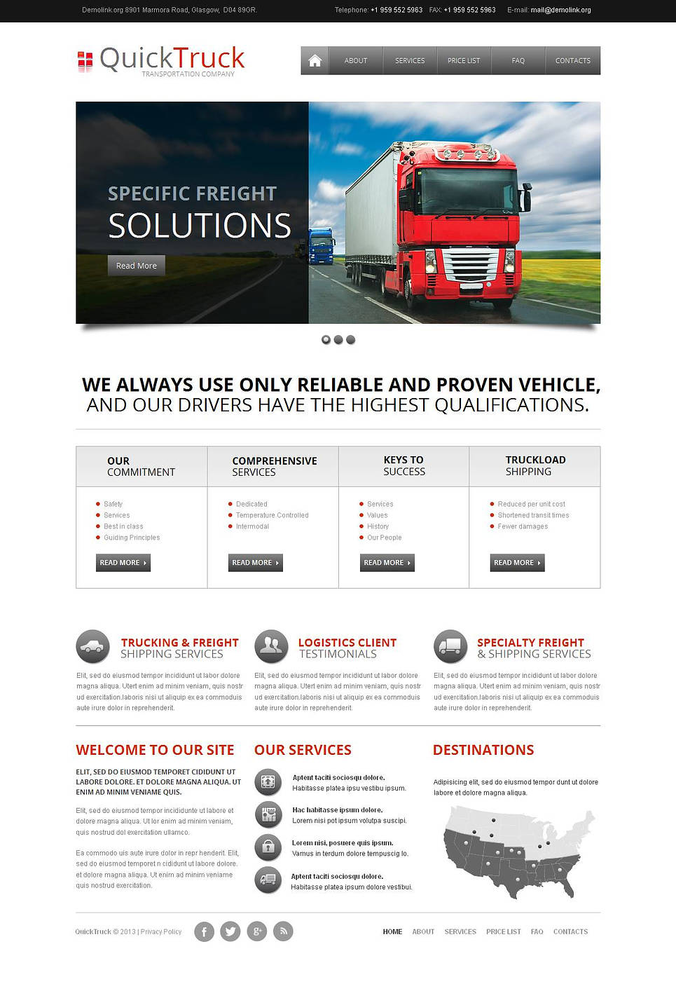 Trucking Website Template with White Background and Content Slider - image