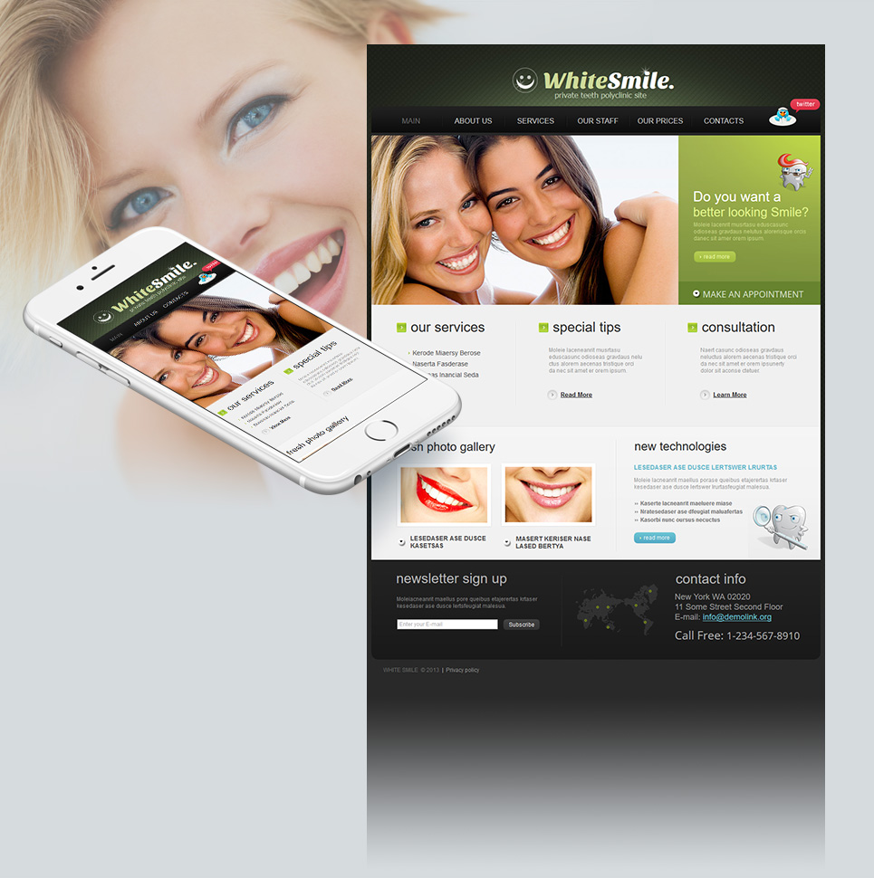 Dark Green Website Template for Dental Clinics - image