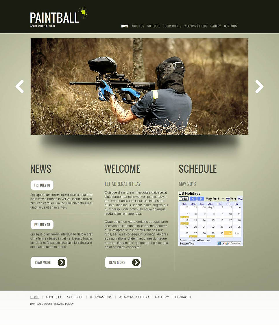 Paintball Club Website Template with Calendar - image