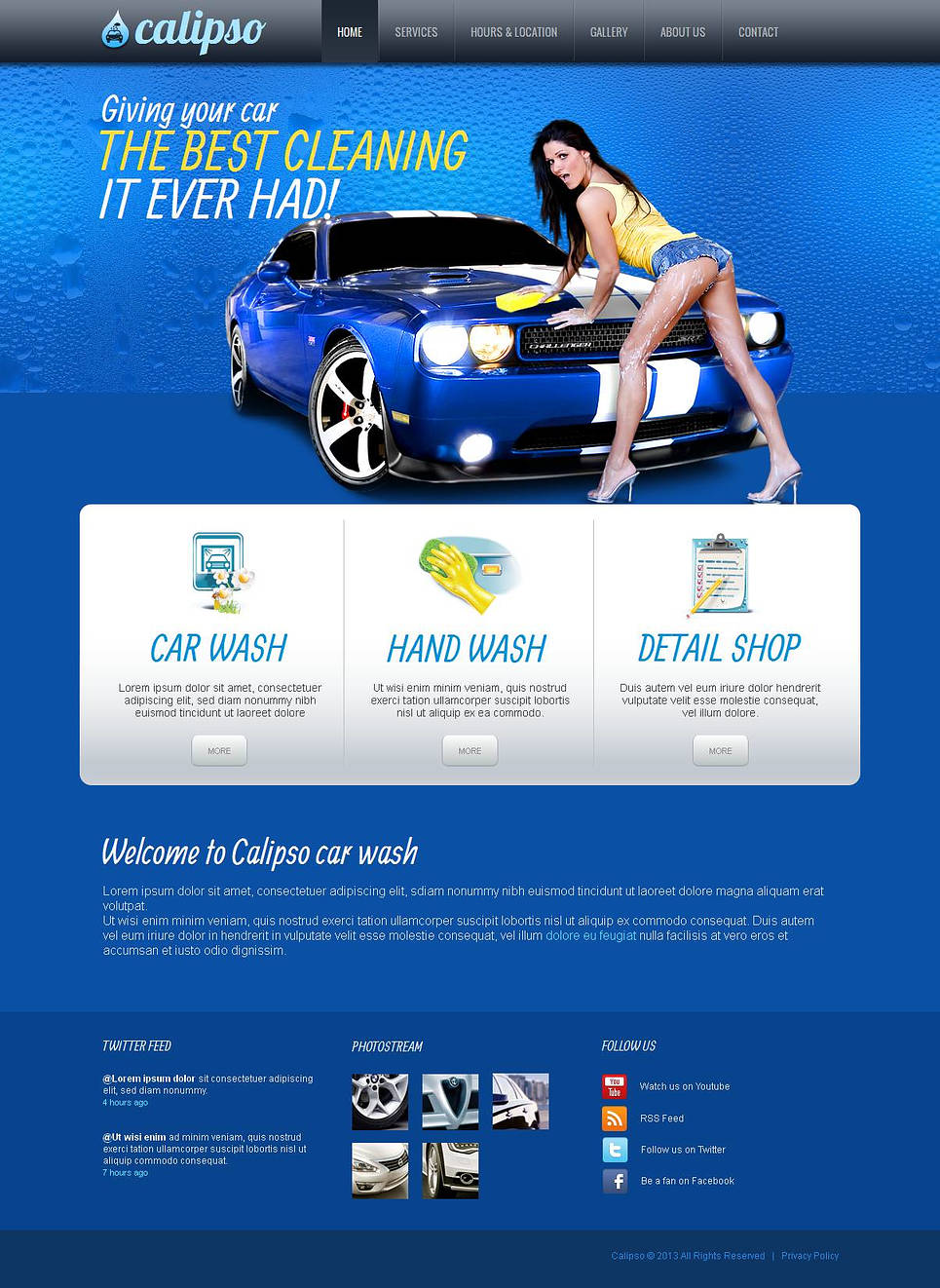 Car Wash Website Template with Blue Background - image