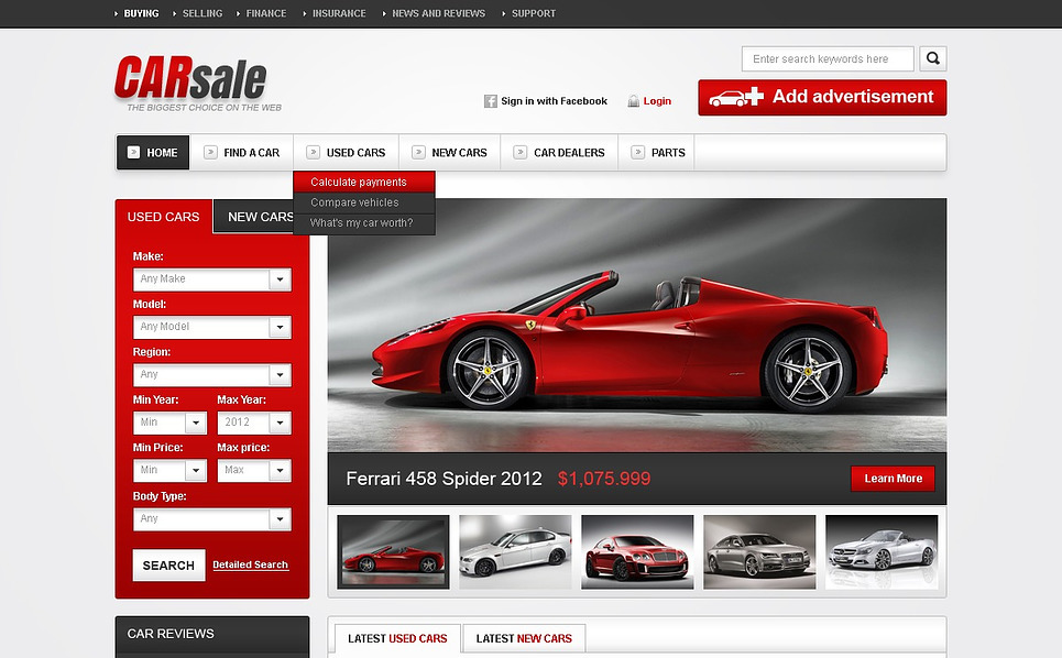 Flash CMS Vorlage für Wagen  New Screenshots BIG