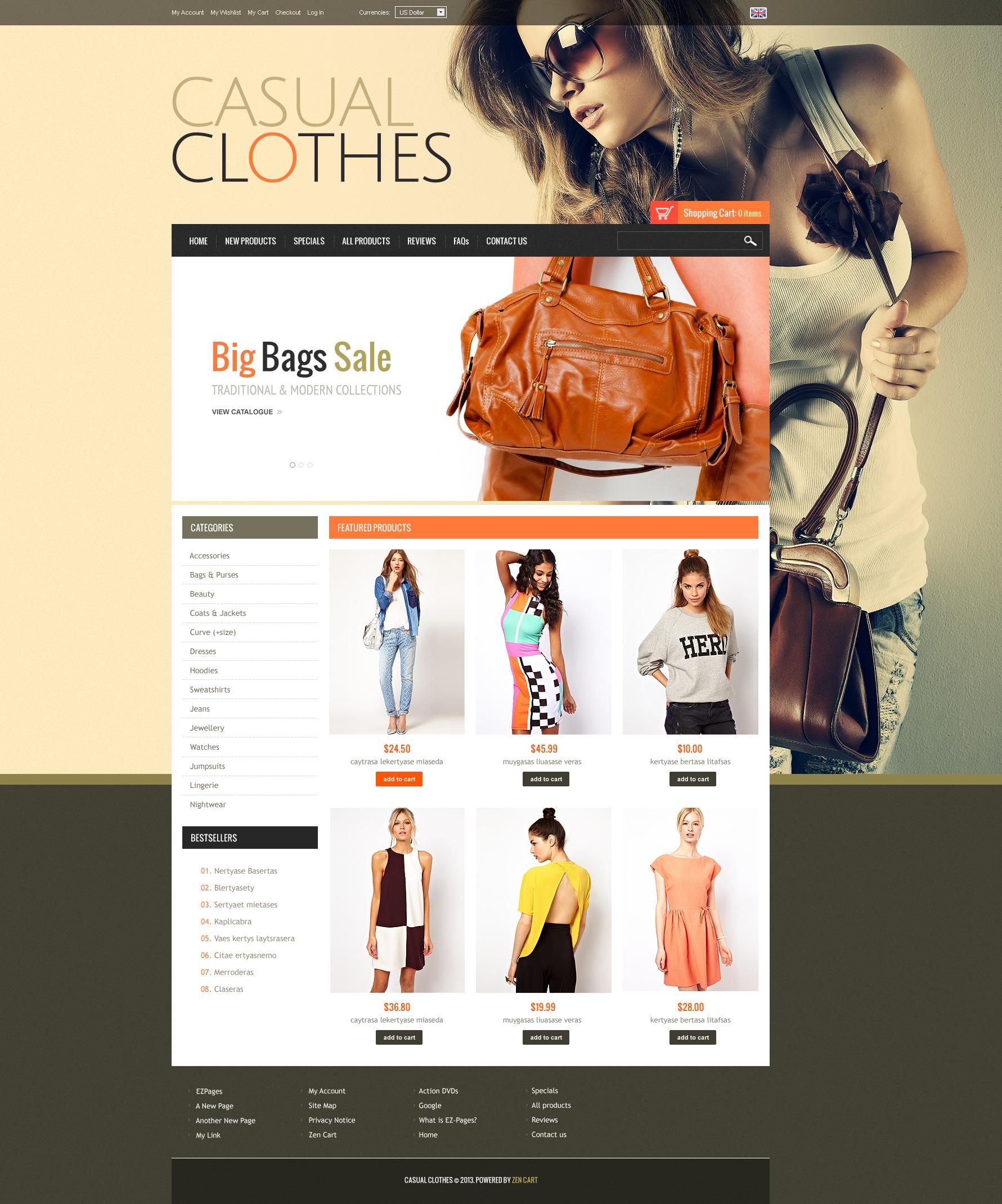 """""""Casual Clothes"""" ZenCart模板 #44773"""