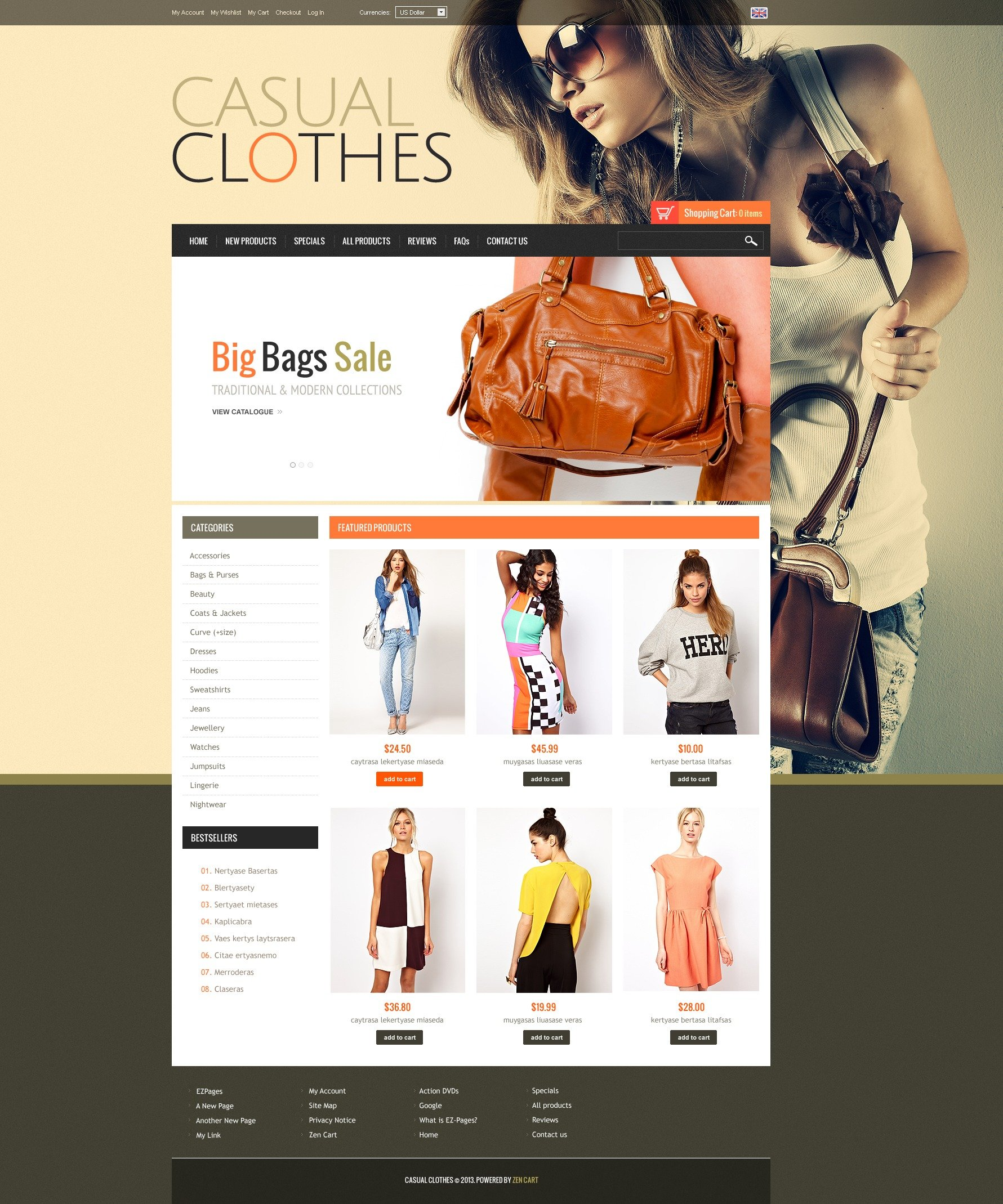 Casual Clothes ZenCart Template