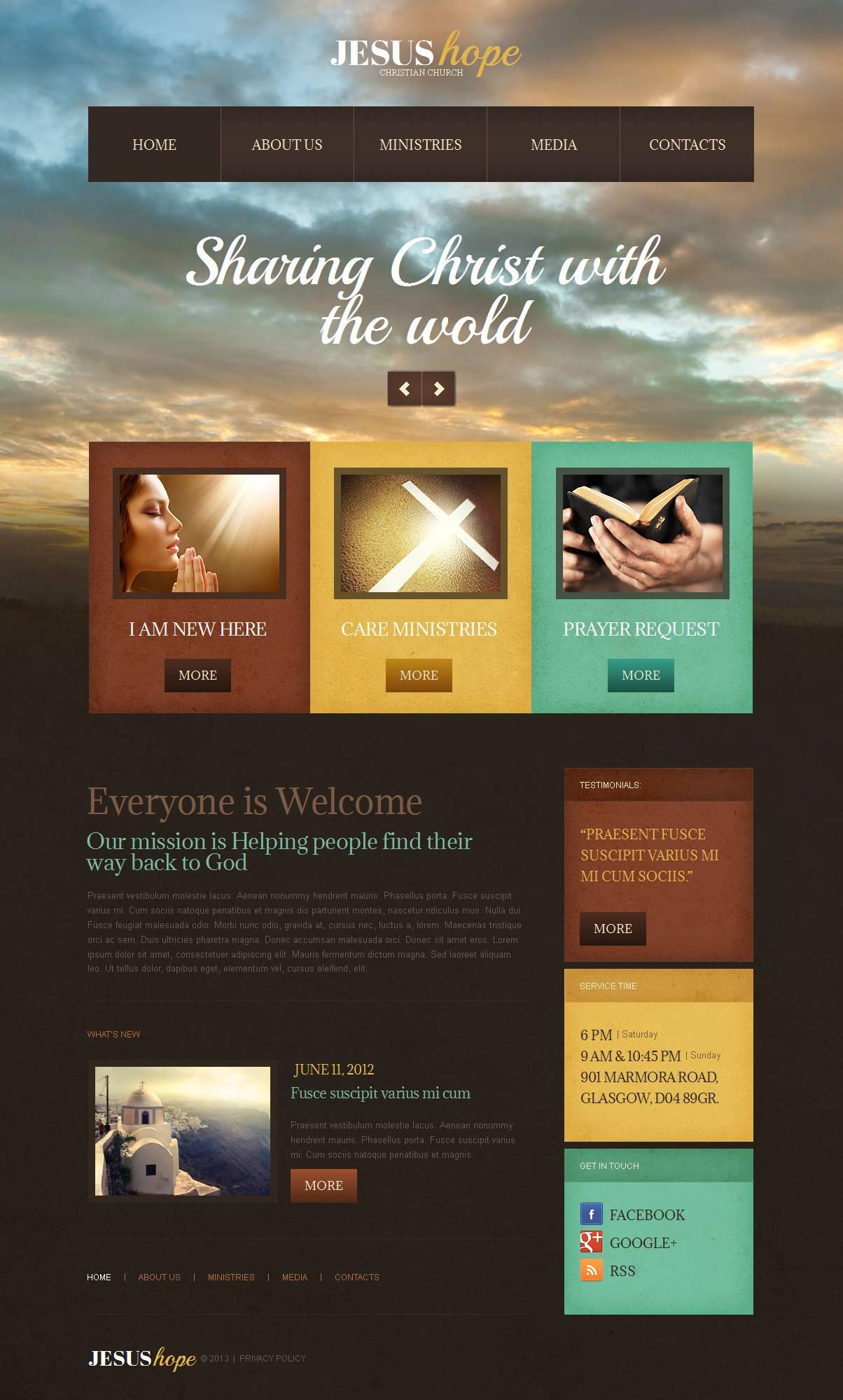 Luxusní Moto CMS HTML šablona na téma Křesťanství #44712