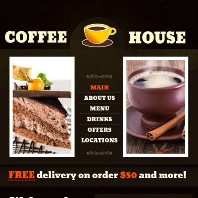 Plantilla Facebook HTML CMS #44729 para Sitio de  para Tienda de Café