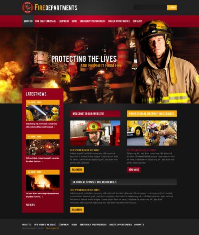 Plantilla Flash CMS #44774 para Sitio de  para Sitio de Cuerpos de bomberos