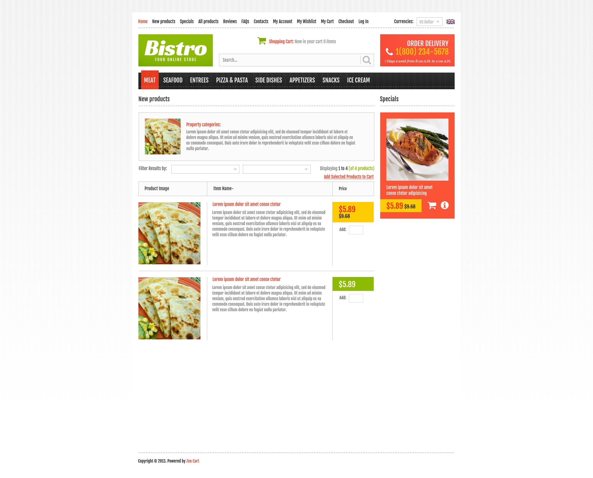 """Plantilla ZenCart """"Online Bistro"""" #44745 - captura de pantalla"""