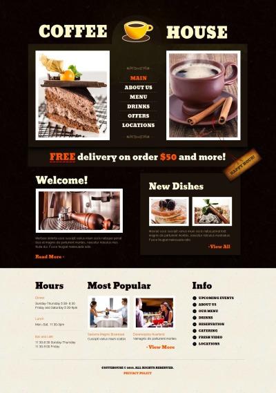 Coffee Shop Responsive Moto CMS HTML Sablon