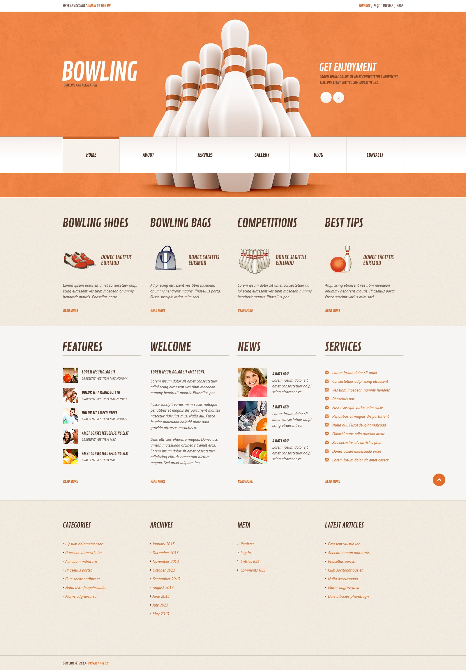 Responsives WordPress Theme für Bowling #44760 - Screenshot