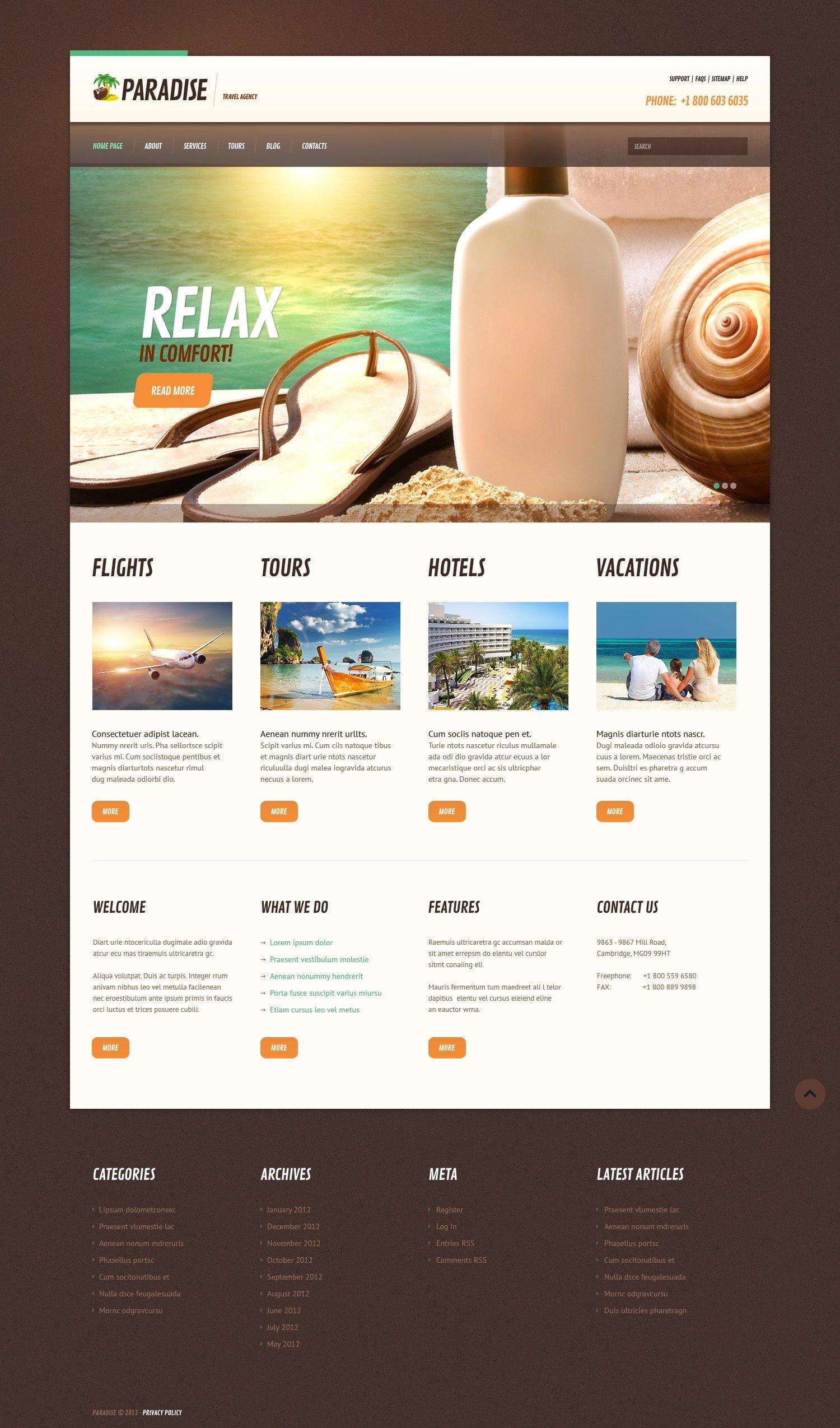 Tema De WordPress Responsive para Sitio de Agencias de viajes #44743 - captura de pantalla