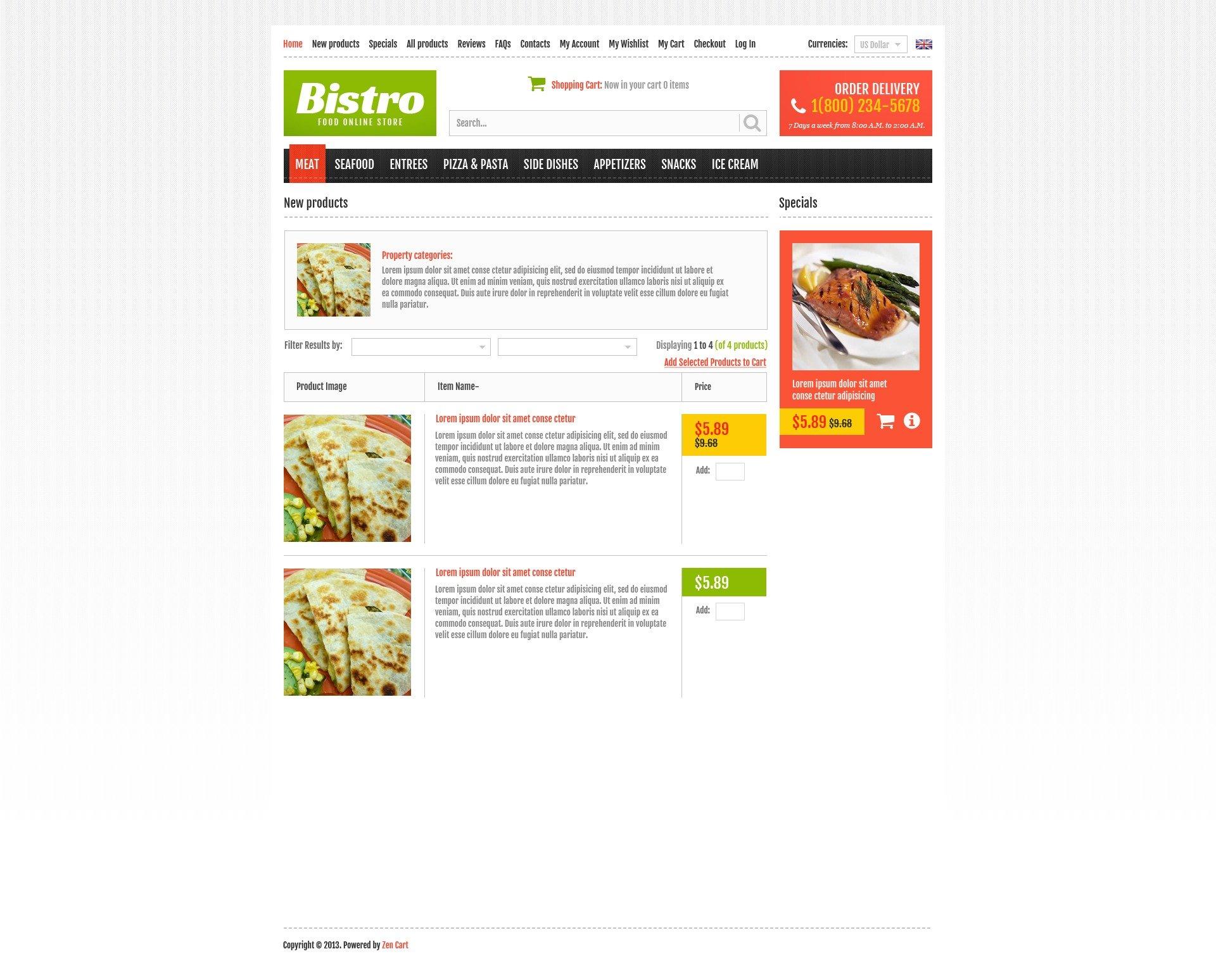 """Tema ZenCart #44745 """"Online Bistro"""" - screenshot"""