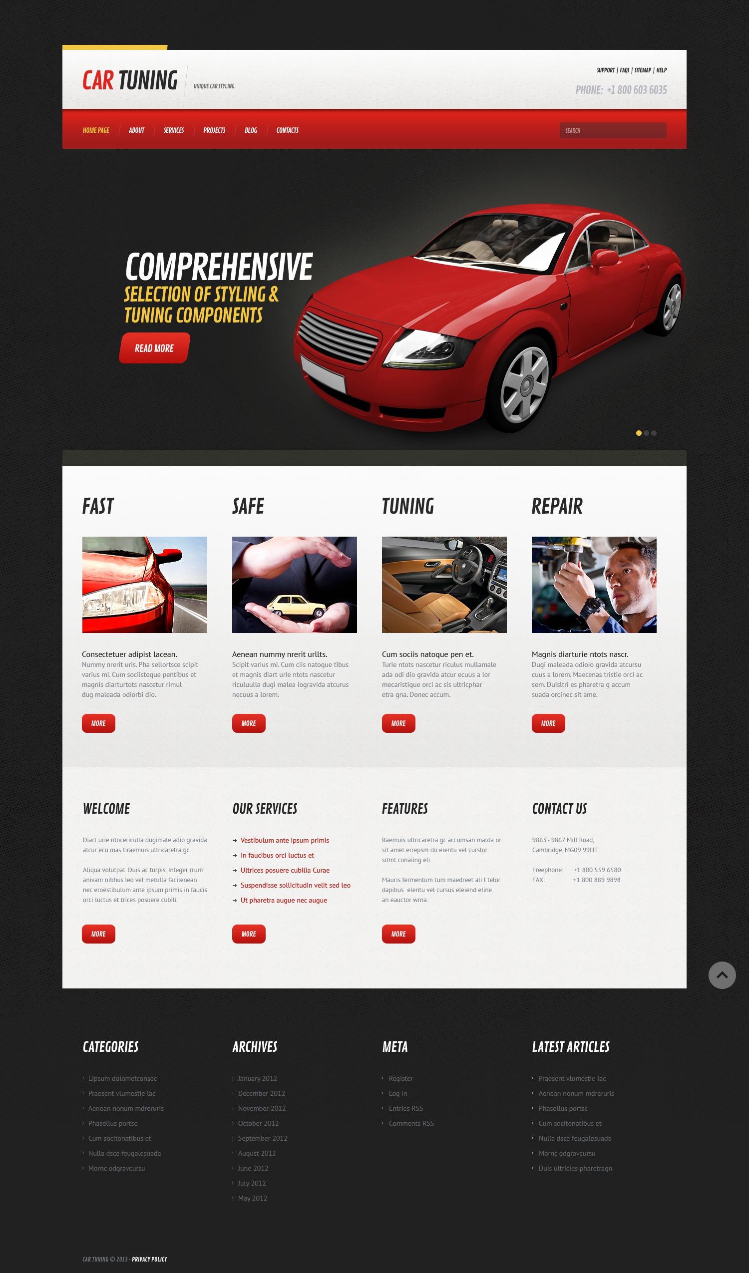 Template WordPress Responsive #44758 per Un Sito di Auto Tuning - screenshot