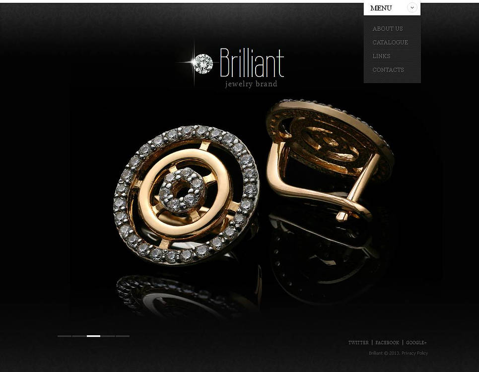 Jewelry Website Template with a Glossy Black Background - image