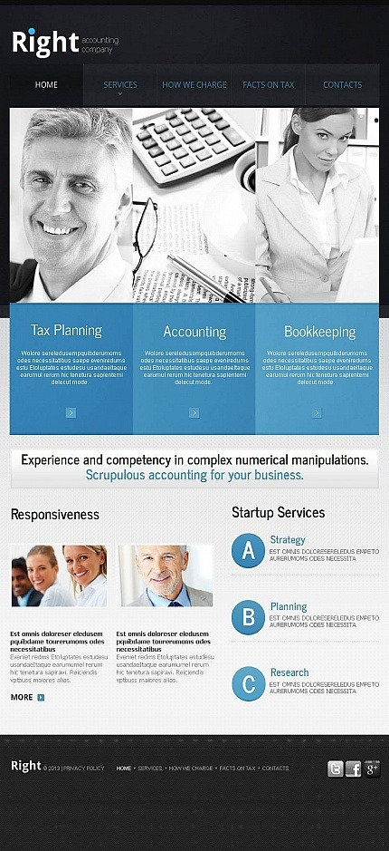 Accounting Website Facebook HTML CMS Template Facebook Screenshot