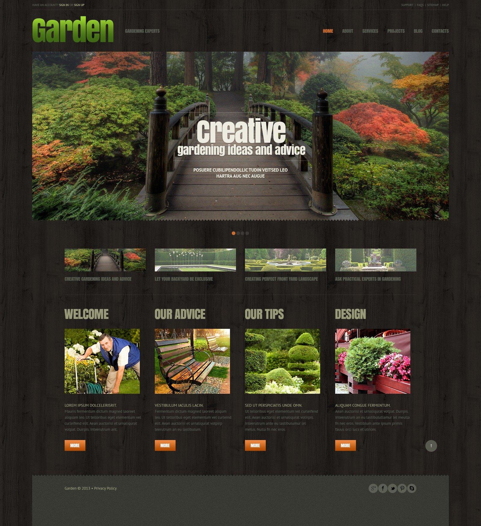 Адаптивний WordPress шаблон на тему дизайн саду №44898 - скріншот