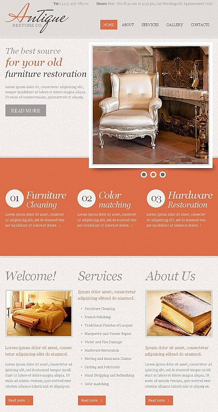 Antique Store Facebook HTML CMS Template Facebook Screenshot