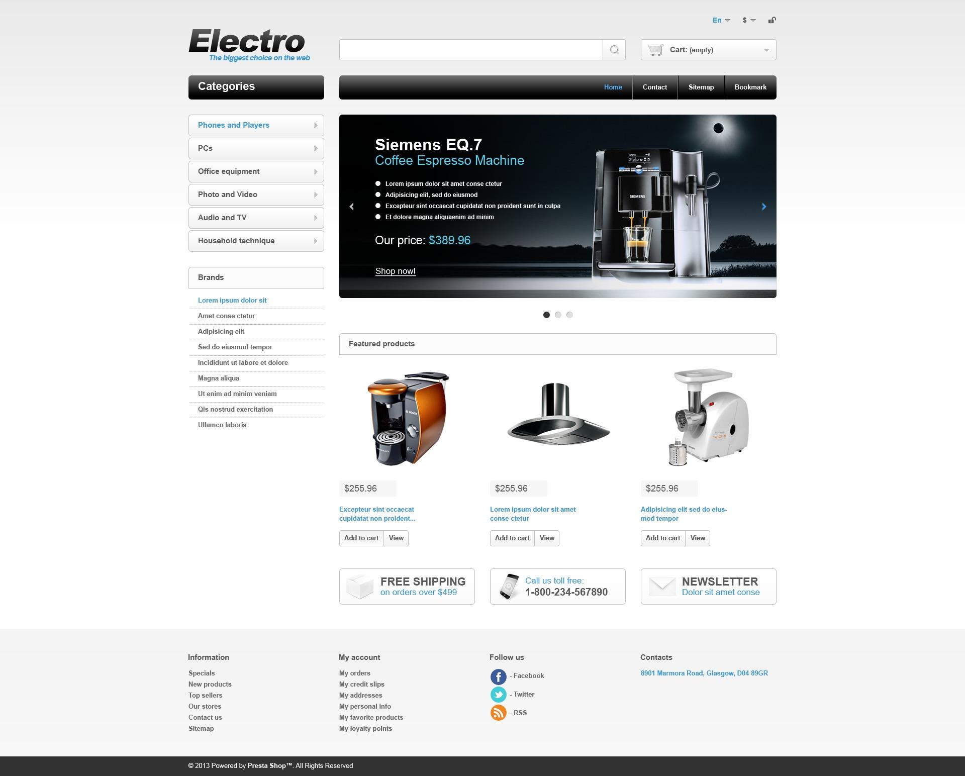 Electrical Appliances PrestaShop Theme #44833