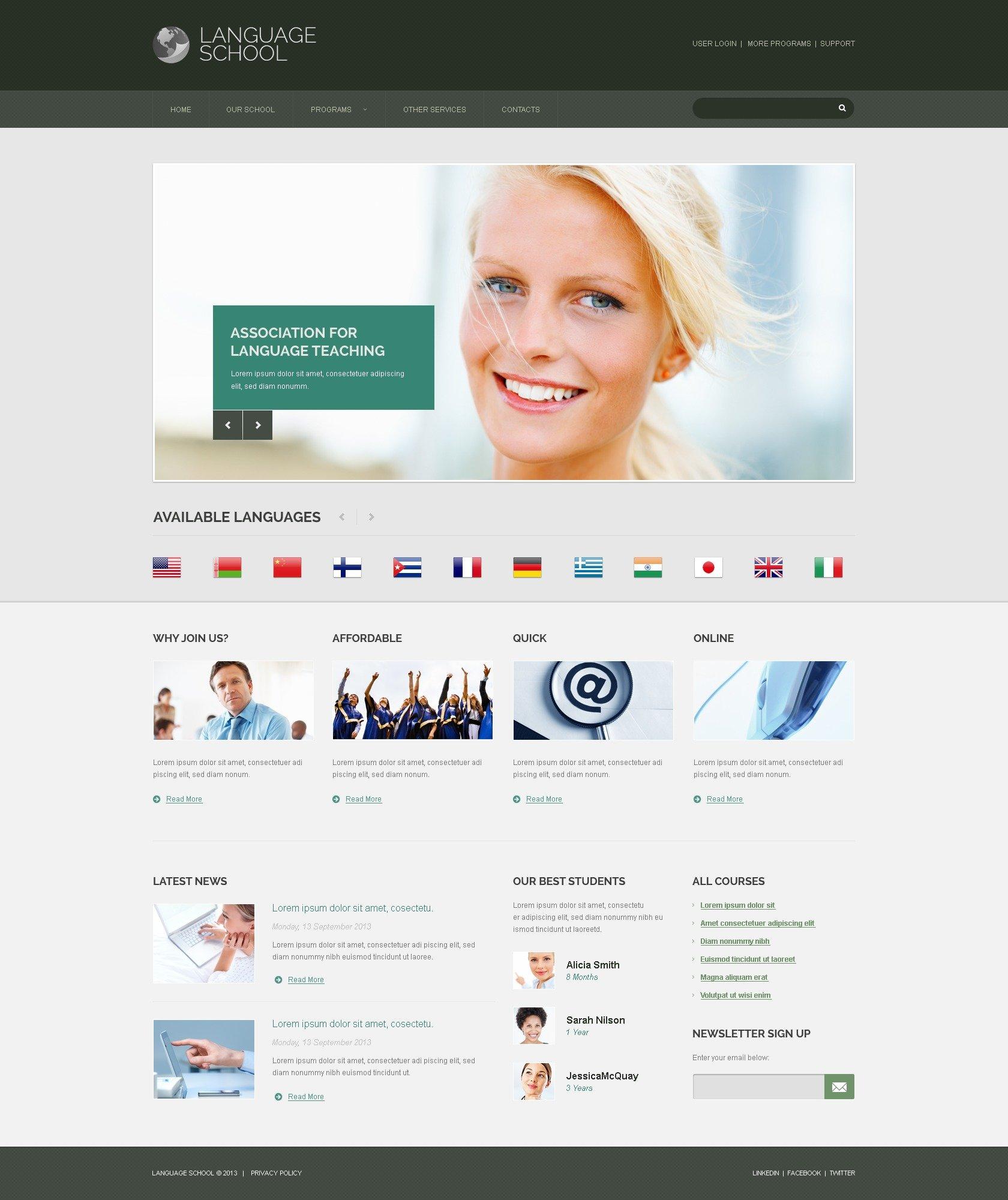 Language School Responsive Website Template #44899