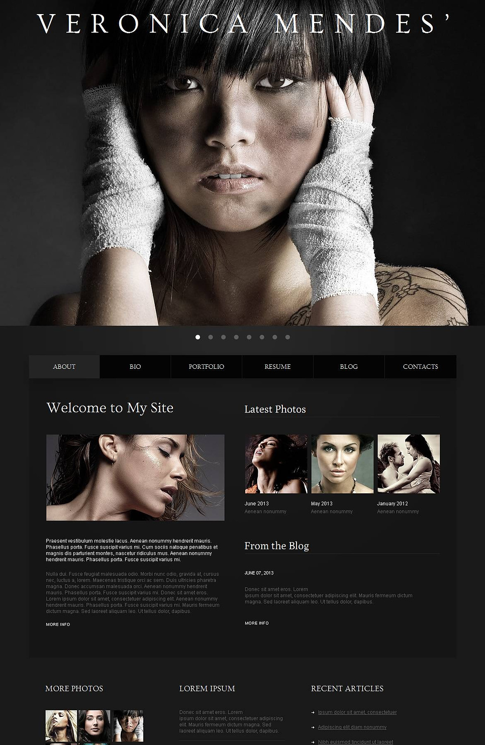 model portfolio moto cms html template 44867. Black Bedroom Furniture Sets. Home Design Ideas