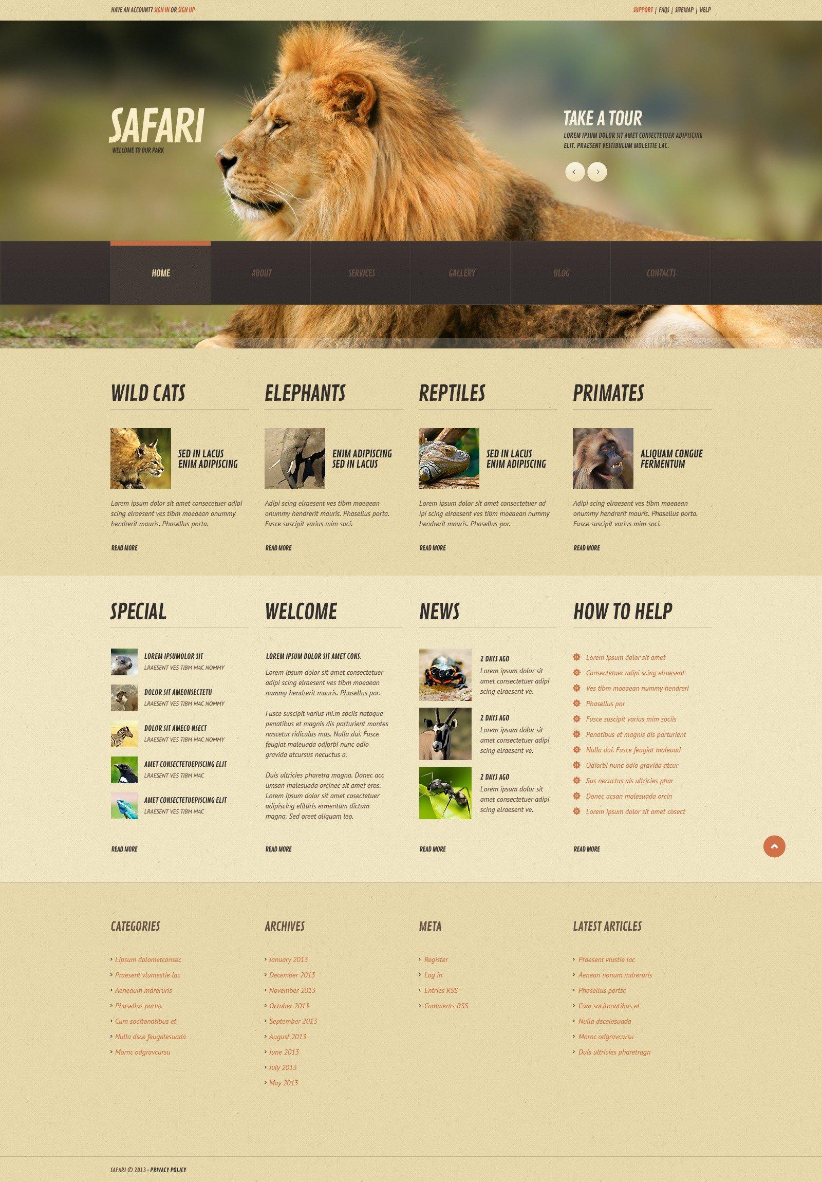 Modello WordPress Responsive #44843 per Un Sito di Animali Selvaggi - screenshot