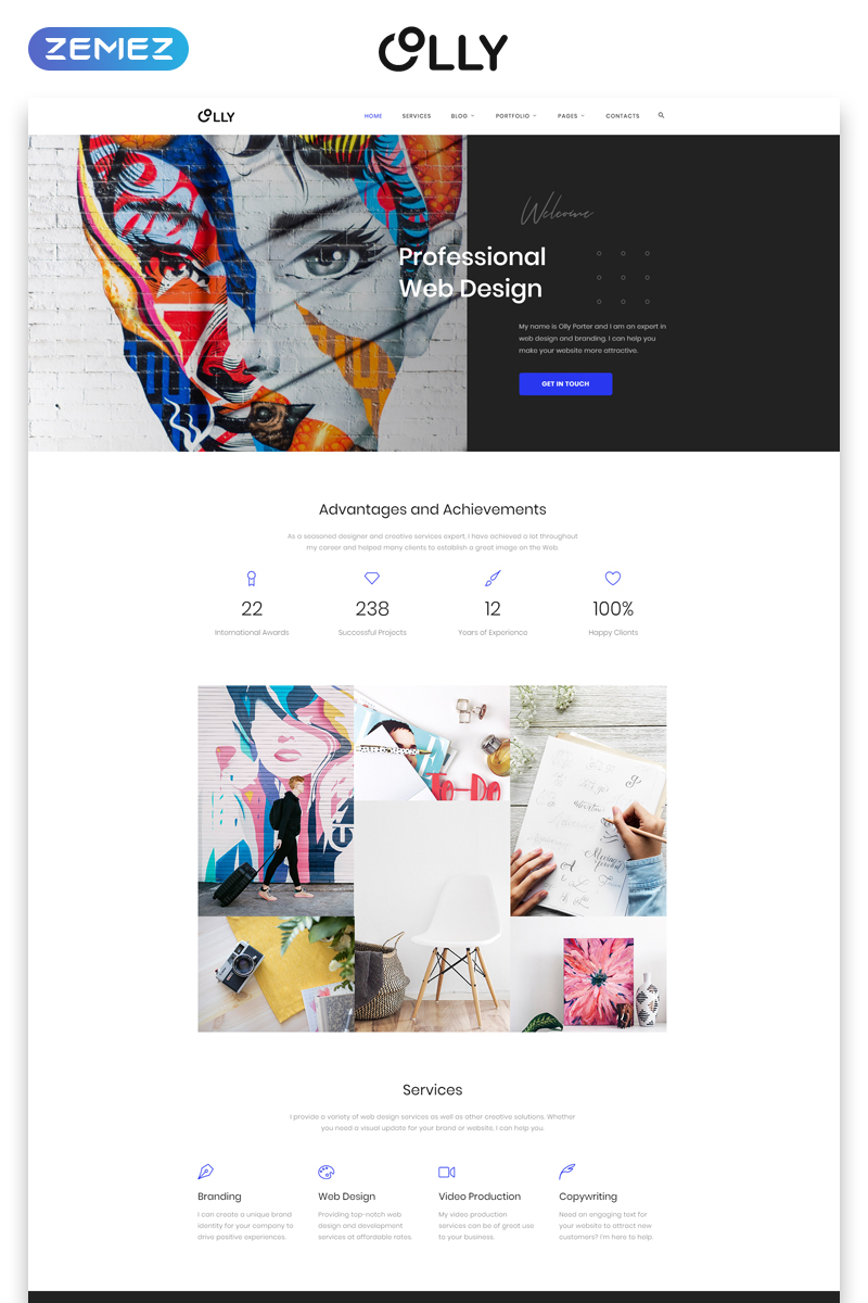 Olly - Advertising Agency Multipage HTML5 Template Web №44829