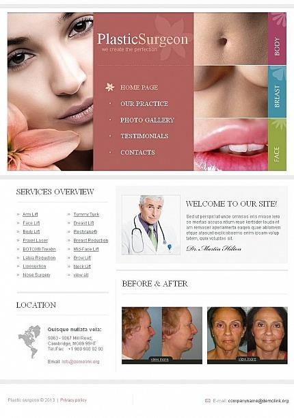Plastic Surgery Facebook HTML CMS Template Facebook Screenshot