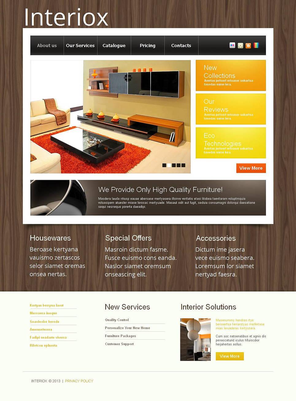 Tema moto cms html 44856 per un sito di arredamento e design for Sito arredamento design
