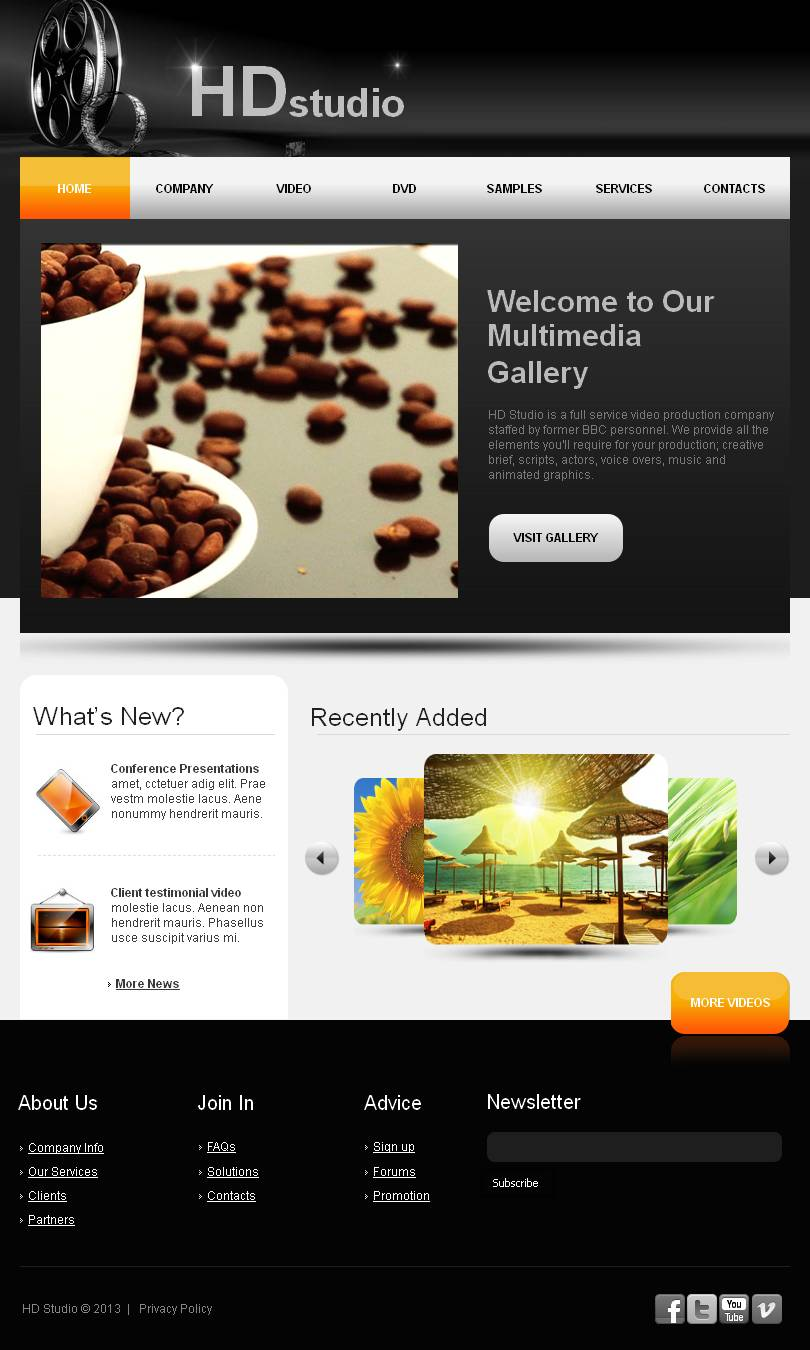 Video Lab Facebook Html Cms Template 44872