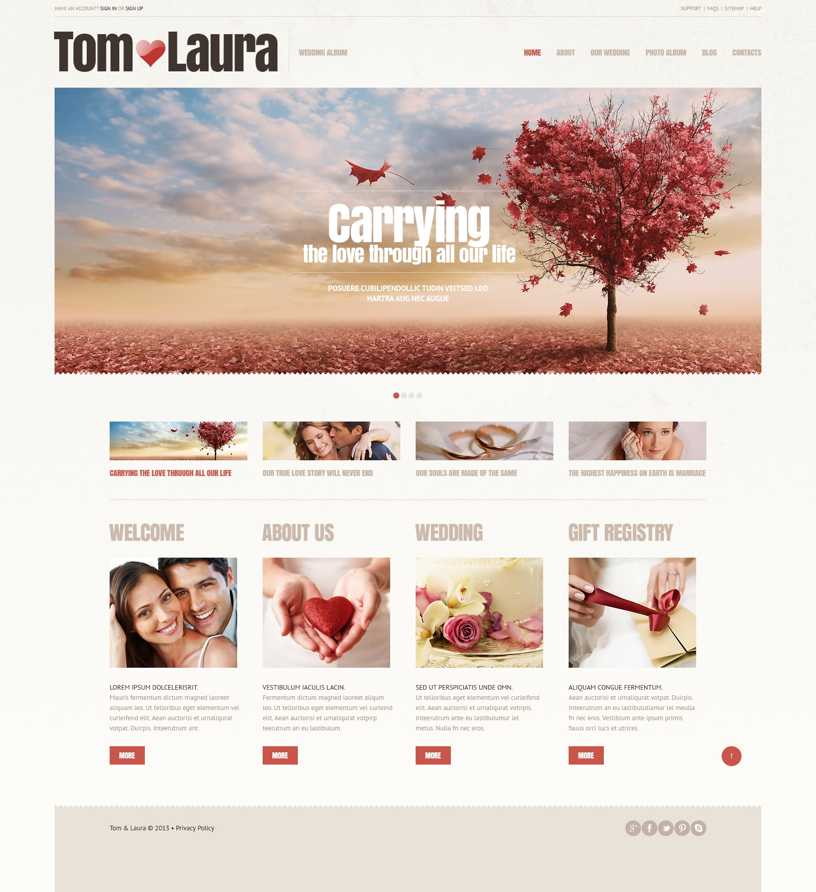 Wedding Album Responsive WordPress Theme #44892