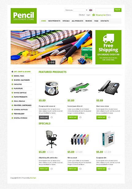 ZenCart Template 44920 Main Page Screenshot