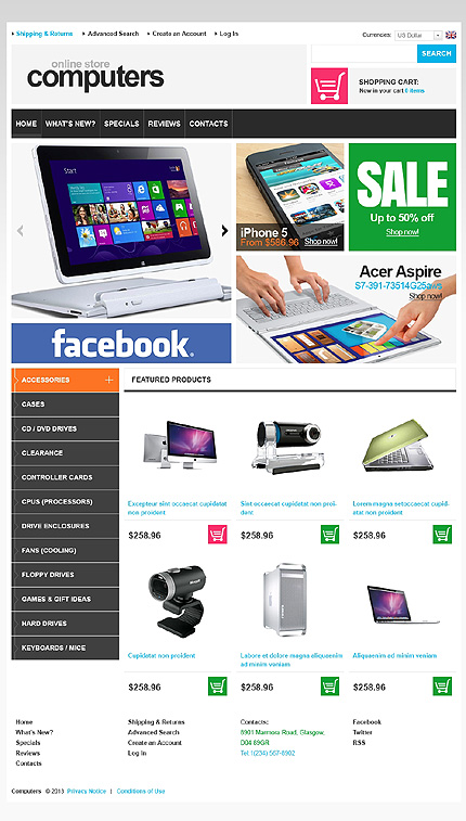 osCommerce Template 44937 Main Page Screenshot