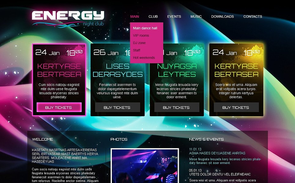 Bootstrap szablon strony www #44958 na temat: klub nocny New Screenshots BIG