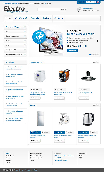 osCommerce Template 44971 Main Page Screenshot