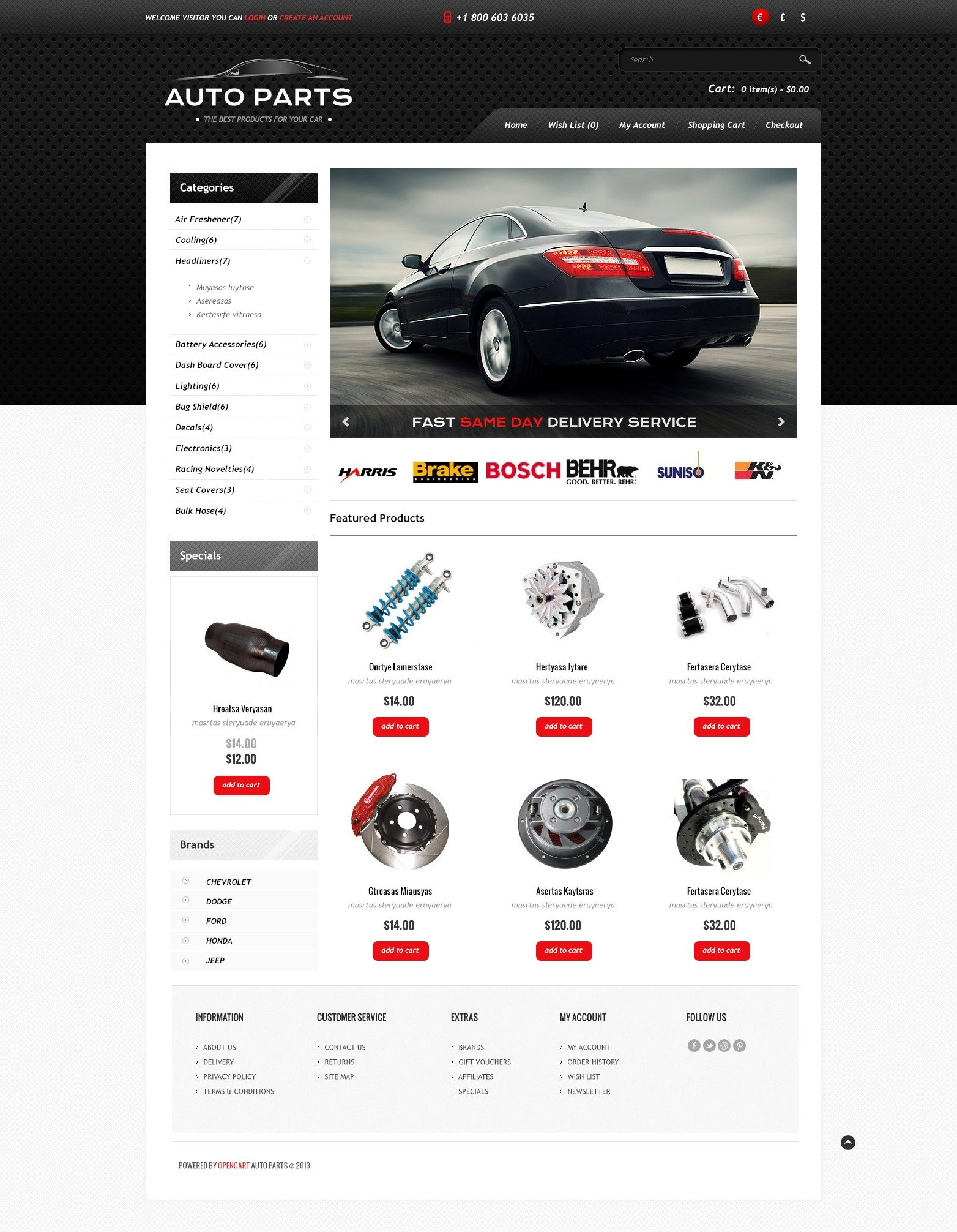 Auto Parts Store OpenCart Template #44913