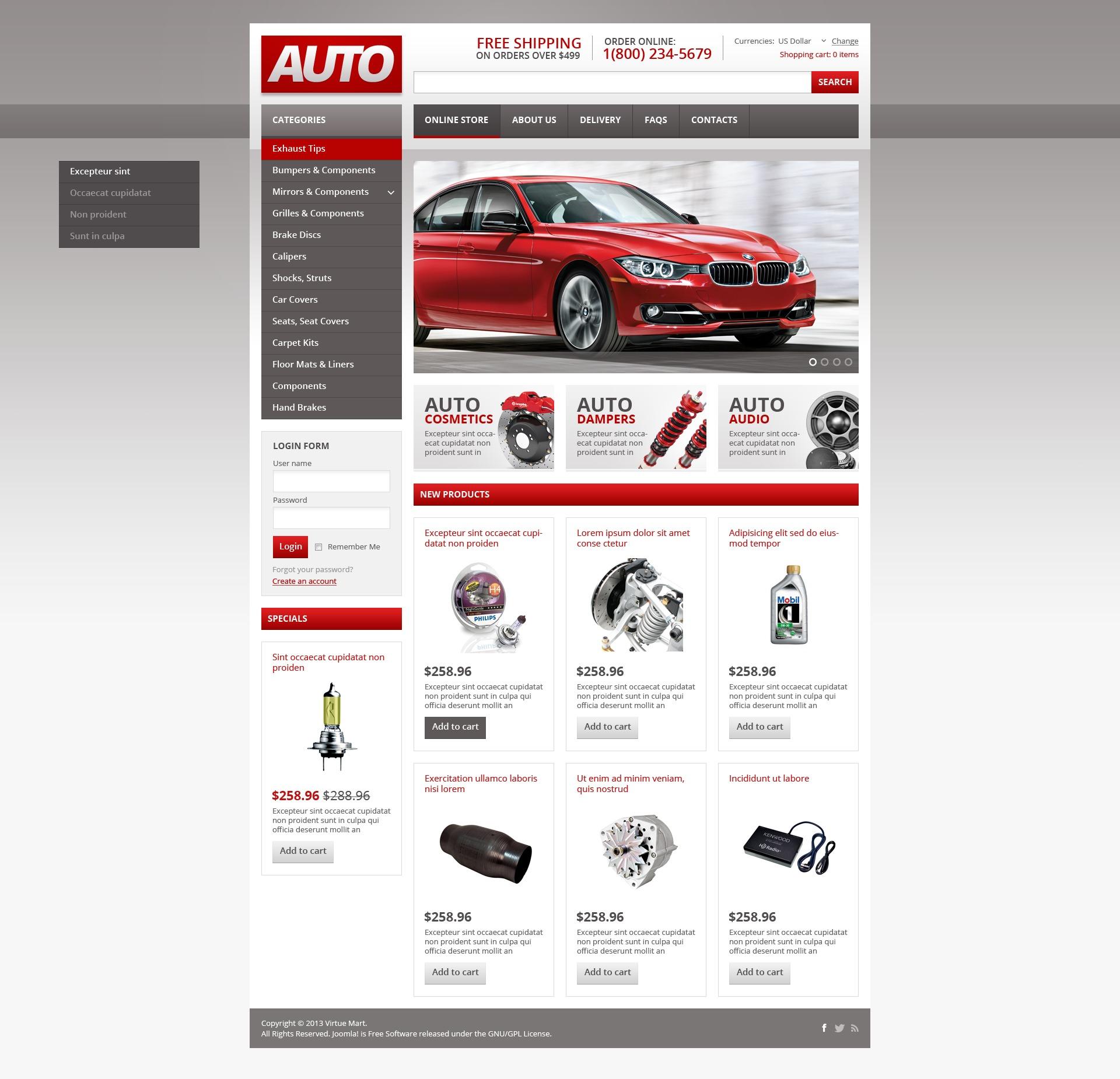 """Auto Spares"" - VirtueMart шаблон №44939"