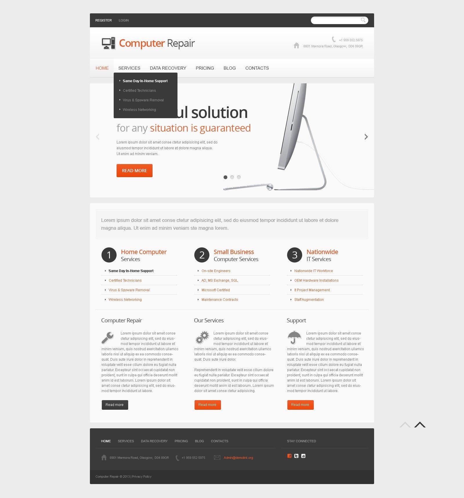 """Light Computer Repair"" - адаптивний Joomla шаблон №44997 - скріншот"