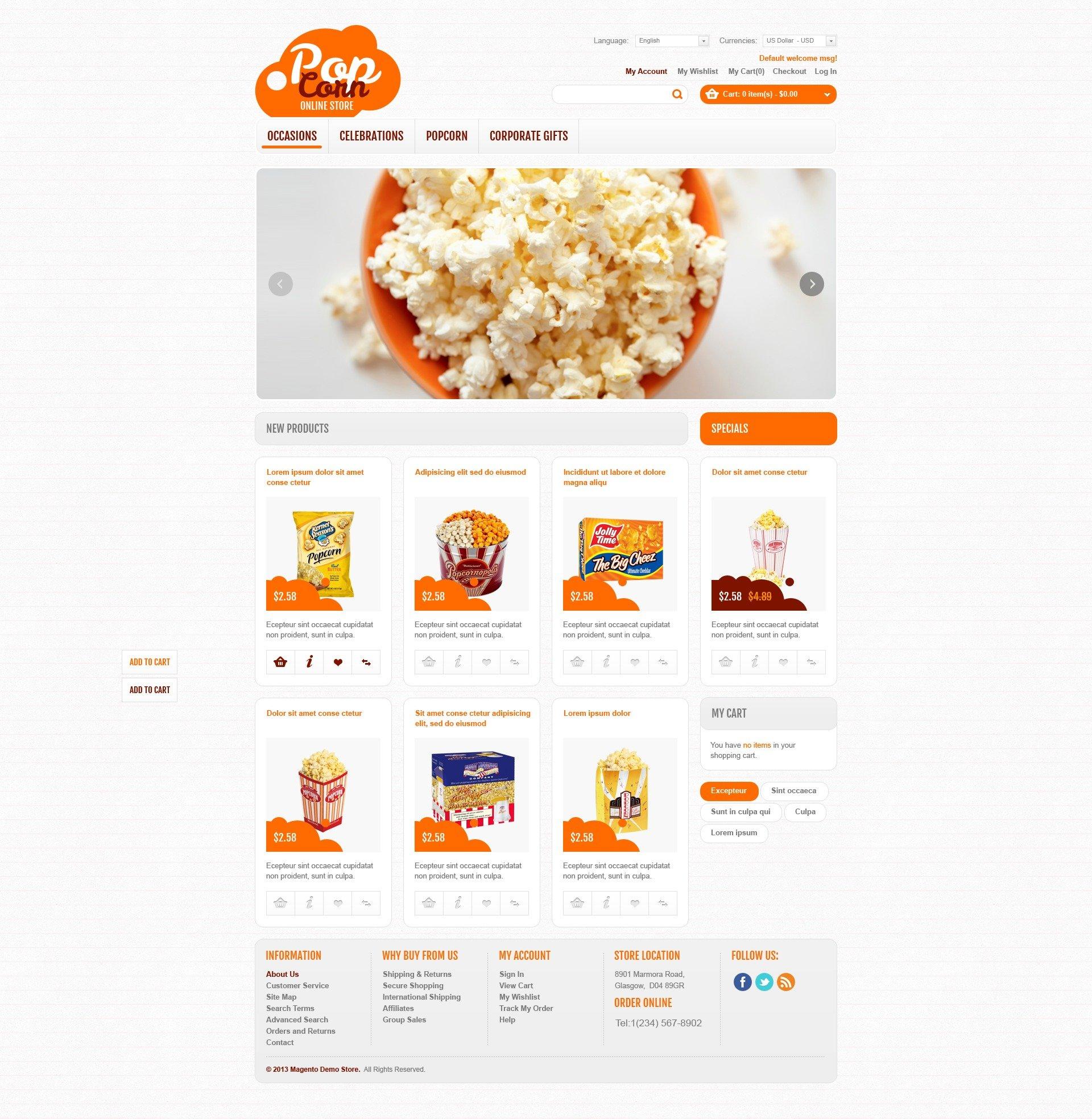 """""""Online Popcorn Store"""" Magento模板 #44981 - 截图"""